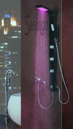 Sanlingo - Columna de ducha con luz LED (aluminio), color negro ...