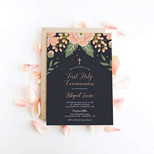 Dozili First Holy Communion Invitation Botanical Peach Floral Blooms First Communion Invitation]()