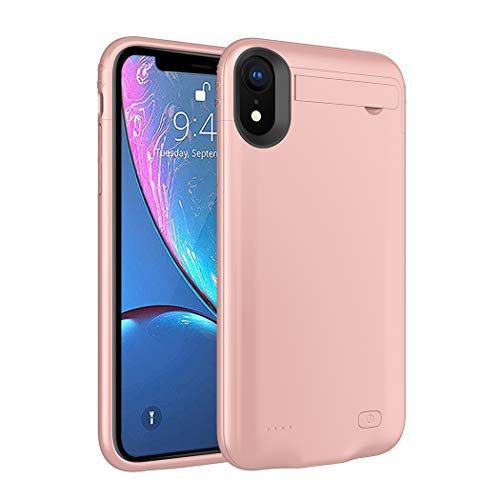 iPhone XR Battery Case, SNSOU 4200mAh Charging Case with Kickstand for iPhone XR Slim Extended Battery Charger Case Portable Protective Rechargeable Power Cover for iPhone XR(6.1inch)-Rose Gold