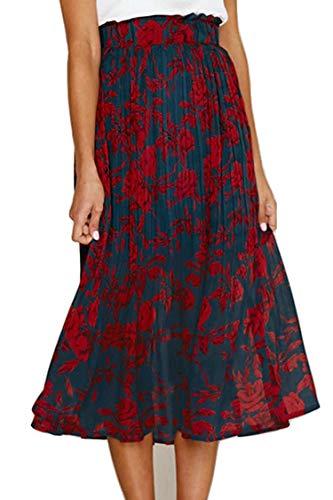 RichCoco Women's Casual High Elastic Waist A Line Print Pleated Pockets Vintage Dresses Polka Dot Midi Skirts (Navy Floral, L)