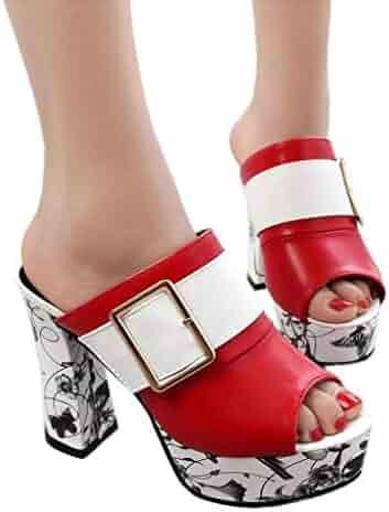 071f2ab4f808 Memela Women Casual Peep Toe Platform Buckles Sandals High-Heeled Thick Heel  Slippers