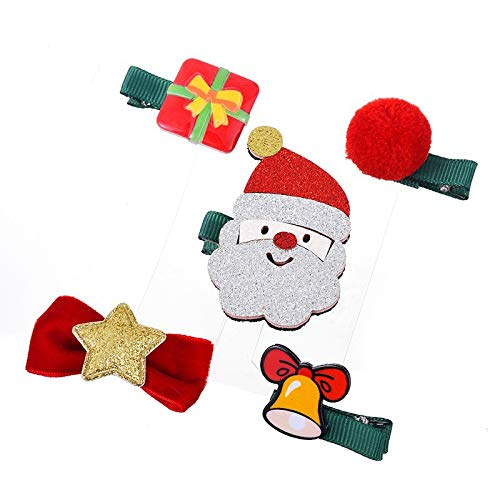 VADOLY 5PCS Children Hair Clips Santa Tree Deer