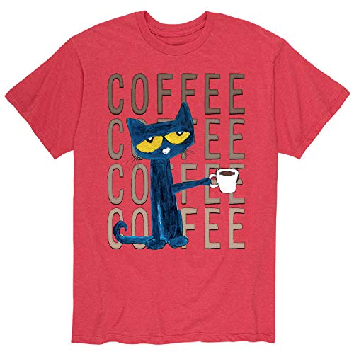 Pete the Cat Pete with Coffee - Adult Short Sleeve Tee (Pete The Cat T Shirts For Adults)