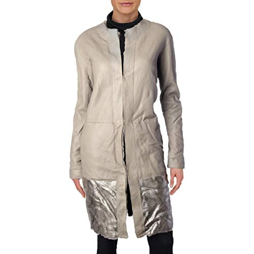 Elie Tahari Womens Jordy Winter Reversible Leather Coat Taupe M