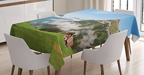 Ambesonne Mountain Tablecloth by, Pastoral View Switzerland Lake Lucerne Cloudy Grassland Pines Altdorf Uri, Dining Room Kitchen Rectangular Table Cover, 60W X 84L Inches, Blue Green ()