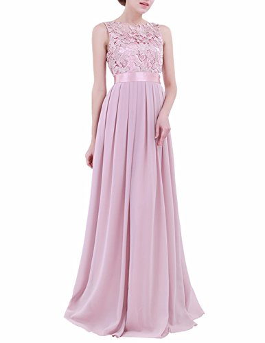 Floral Chiffon (FEESHOW Women's Floral Lace Appliques Chiffon Wedding Bridesmaid Long Dress Prom Evening Gowns Dusty Rose 4)