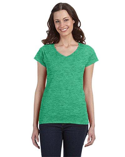 V-neck T-shirt Irish Womens - Gildan Women's Preshrunk Heather V-Neck T-Shirt, Heather Irish Green, Medium