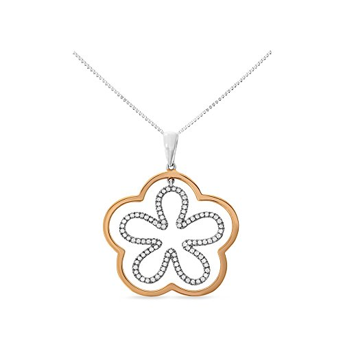 18k Two Tone Gold Pendant - 0.40CTW 18K Two-Tone Gold Genuine Natural Diamond Flower Pendant With Square Box Chain Necklace