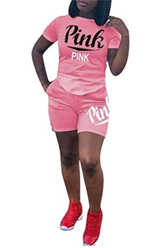 Dingang Womens 2 Piece Set Letter Print Crop Top And Short Pants Tracksuits Set Sportwear S 3Xl