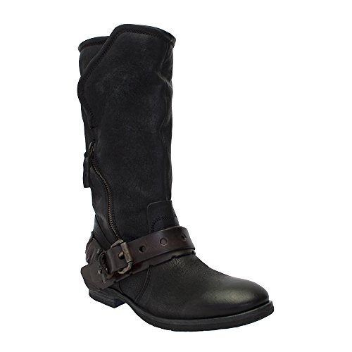 8100 Melrose New Leather Zippered Belted Mid Calf Boot Black YXpcyUzI0y