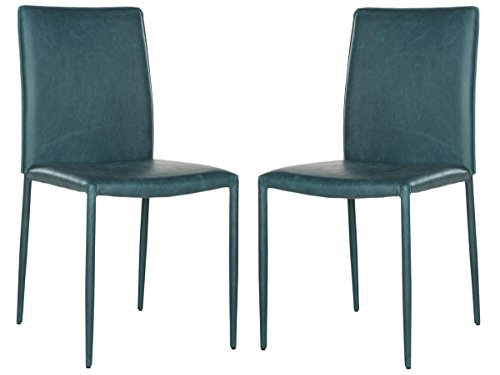 Safavieh Home Collection Karna Antique Teal Bonded Leather Dining Chair (Set of 2)