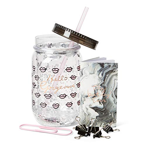 812568e203a5 Fun Mason Jar Plastic Cups: Large Break Resistant, BPA Free To-Go Mug with  Lid and Handle - Perfect as Party Cups, Kids Travel Cups (Hello Gorgeous)