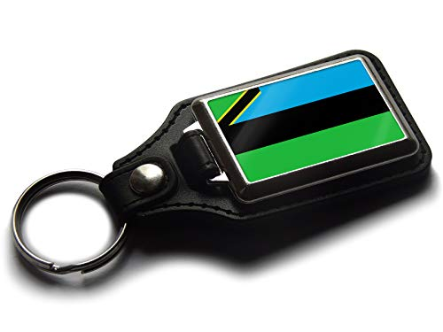 Flag of Zanzibar National Colours Quality Leather and Chrome Keyring