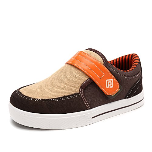 DREAM PAIRS Little Kid Boys' 160479-K Brown Orange School Loafers Sneakers Shoes - 1 M US Little Kid