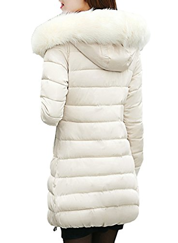 Parka Scothen Ladies sintética Parka Acolchada Capucha de Piel con Winter Autumn Larga Chaqueta Capucha Invierno Coat Beige Capucha señoras Warm Chaqueta Las Winter Jacket qrqHS