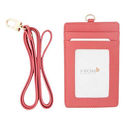Genuine Leather Card Holder Necklace Neck Business Id Badge Neck Strap (Pink)