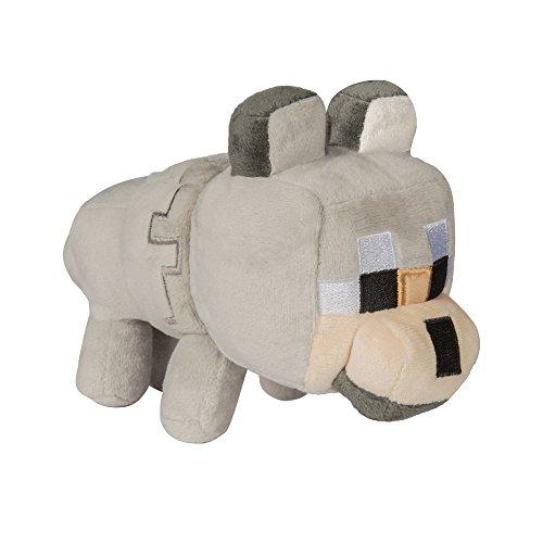JINX Minecraft Happy Explorer Untamed Wolf Plush Stuffed Toy (Grey, 5.5 Tall)