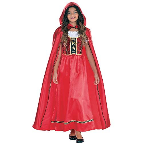 Suit Yourself Fairytale Red Riding Hood Costume for Girls, Size Medium, Includes a Detailed Red Dress and Matching Cape -