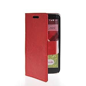 CASEPRADISE Slim Wallet Card Holder Flip Leather Etui Stand Case Cover For LG G2 Mini Red