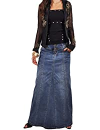 Victoria Casual Long Jean Skirt