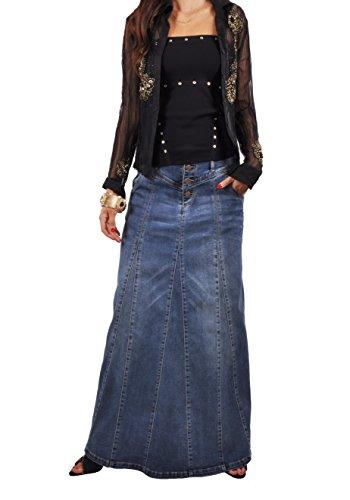 Long Cargo Skirt - Style J Victoria Casual Long Jean Skirt-Blue-38(18)