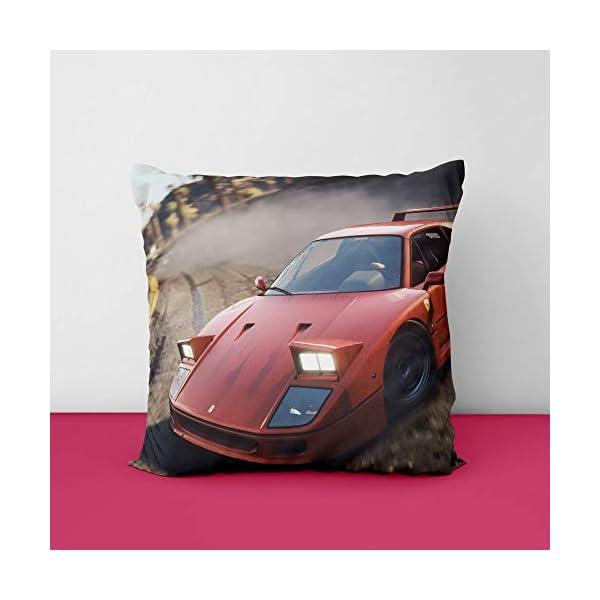 41ZCwXHQIgL Red Ferari Car Square Design Printed Cushion Cover
