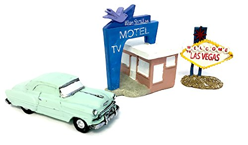 Route 66 Fairy Garden Kit Includes the Blue Swallow Motel, 1953 BelAir, and a