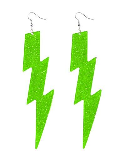 [Neon Green Lightning Bolt Earrings] (Lightning Bolt Costumes)