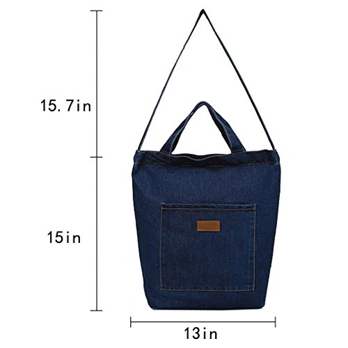 Blue Handbag Zip Blue Bag Tote Womens Deep AiSi Girls Deep with Bag Shoulder Denim BOnU6g