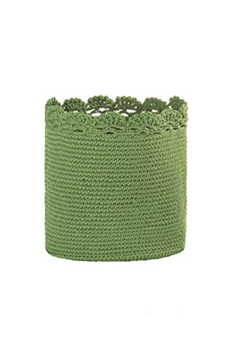 Heritage Lace Mode Crochet Basket with Trim, 8 by 8-Inch, Sage (Baskets Crocheted)