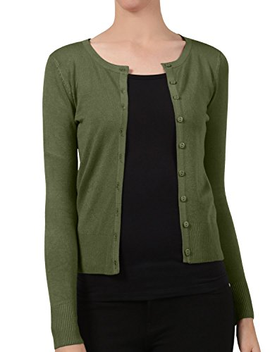 NE PEOPLE Womens Basic Crewneck Button Down Long Sleeve Cardigan - Olive Peoples