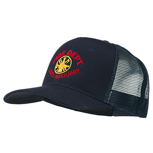 E4hats Fire Dept Ladies Auxiliary Embroidered Mesh Cap - Navy OSFM (Dept Embroidery Fire)