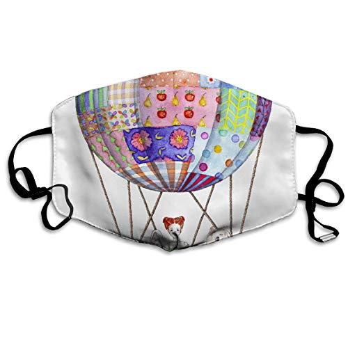 Yj-jjj Customized Girl with Toys in Air Balloon from Patchwork Blanket Comfortable Breathable Mask, Universal Respirator Mask for Men and Women to Protect The Face