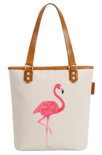 So'each Women's Flamingo Bird Animal Canvas Tote Pearly Top Handle Shoulder Bag