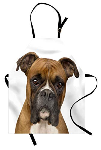 Ambesonne Boxer Dog Apron, Front View Two Years Old Purebred Boxer Dog Animal Photo Unisex Kitchen Bib Apron with Adjustable Neck for Cooking Baking Gardening, Pale Brown ()