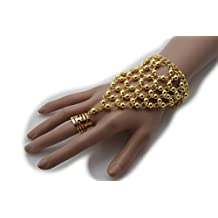 TFJ Women Wrist Metal Hand Chain Bracelet Trendy Slave Ring Bridal Glove Style Fashion Long Jewelry Bling Gold Color