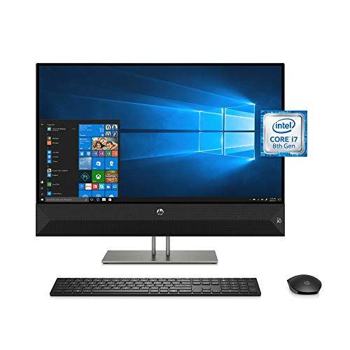 HP Pavilion 27-inch All-in-One Computer, Intel Core i7-8700T, NVIDIA GeForce GTX 1050, 16 GB RAM, 2 TB hard drive, 256 GB SSD, Windows 10 (27-xa0080, Black)