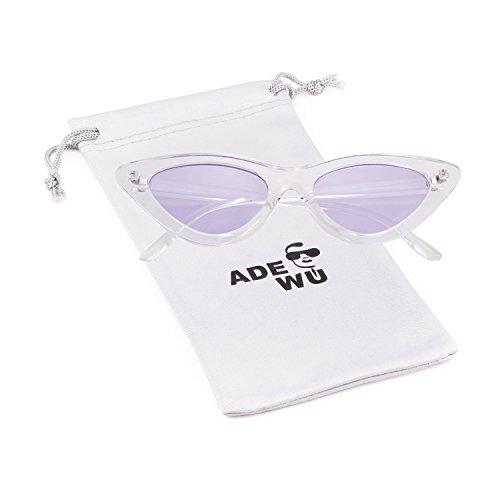 ADEWU mujeres estilo Kurt de gato de para Gafas Púrpura de Transparente Marco de de niñas Cobain vintage sol Lente protección 1 retro Gafas gafas Blanco sol ojo rHPrq7