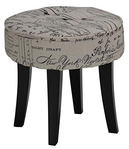 Linen Vanity - Cortesi Home Harman Stool in Script Linen Fabric