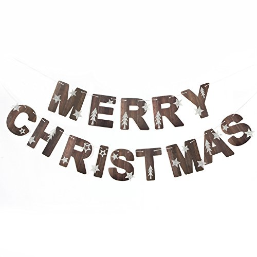 Merry Christmas Banner Glitter Stars Trees Holiday Garland for Christmas Decoration Party Props Nature Color SUNBEAUTY ()