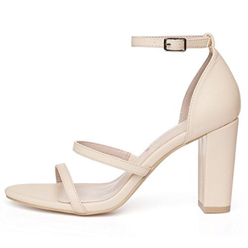 Allegra K Womens Triple Straps Block Heel Sandals Beige Rjo1Tk