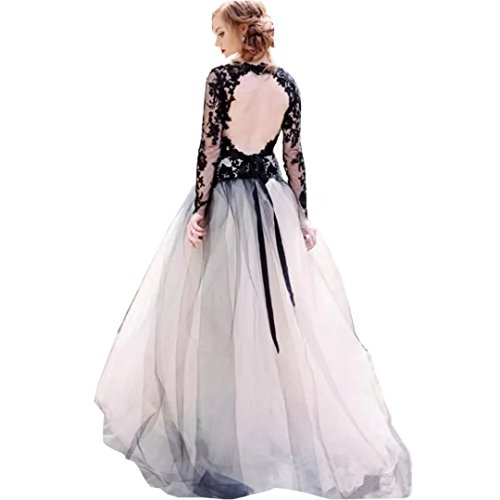 Chady Sexy Deep V-Neck Black Lace And White Tulle Wedding Dresses 2017 Backless Long Sleeves Vintage Gothic Bridal Gowns