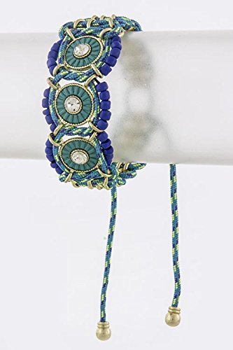 KARMAS CANVAS ROUND DISK LINK BRACELET (Royal Blue)
