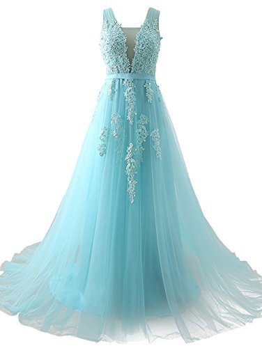Huifany Women's V Neck Lace A-line Empire Long Formal Evening Dress Prom Gown (22Plus, Sky Blue) ()