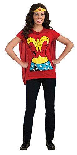 Costumes Movie Themed Halloween (UHC Women's Dc Comics Sexy Wonderwoman T-shirt Halloween Themed Fancy Costume, Medium)