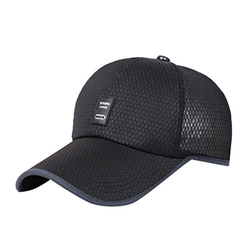 Fashion Baseball Cap, Women Men Cotton Mesh Embroidered Unisex Trucker Baseball Caps Prime Adjustable Dad-Hat (Black)