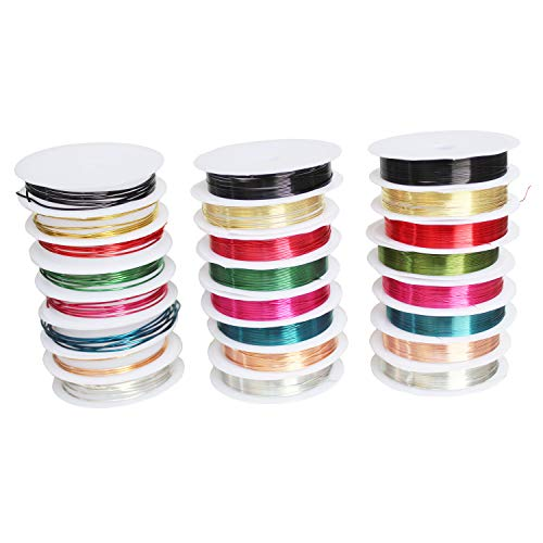 Goodma Tarnish Resistant Copper Wire for Beading Jewelry Making Craft Supplies, Total 24 Rolls, 8 Colors, Mixed Sizes (0.3mm / 0.6mm / 1.0mm)