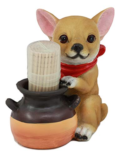 - Ebros Lifelike Chihuahua With Red Scarf And Pot Decorative Toothpick Holder Statue With Toothpicks 4