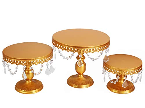 ue Cake Stand Round Cupcake Stands Metal Dessert Display with Pendants and Beads, Gold ()