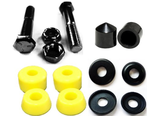 Kit Kingpin (Complete Set of Replacement Skateboard Kingpins, Bushings, Washers & Pivot Cups Kit (Yellow))